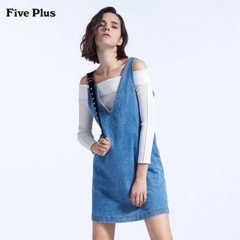 FivePlus2018新款女秋装牛仔连衣裙无袖背带裙短款宽松钻饰棉质