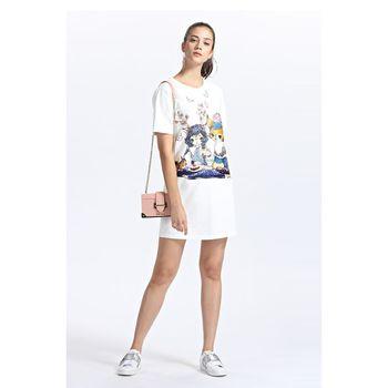 FivePlus2018新款女秋装短袖连衣裙女卡通图案T恤裙宽松印花棉质