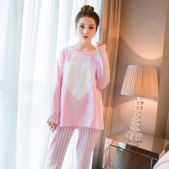 麦晴印花薄款粉色桃心竖条裤套装