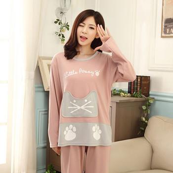 麦晴卡通口袋猫时尚家居服套装