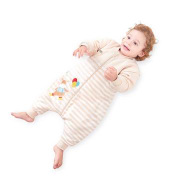 欧孕彩棉儿童睡袋春秋分腿防踢被婴儿秋冬夹棉睡袋
