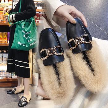 艾微妮韩版热销金属装饰毛毛单鞋