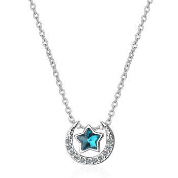 星月相伴 蓝水晶锁骨项链