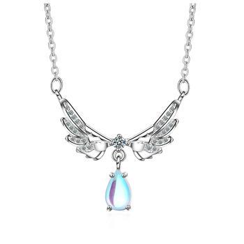 天使翅膀 月光石锁骨链