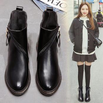 韩国chic马丁靴女短筒英伦风女靴
