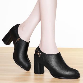 女秋新款韩版休闲粗跟高跟单鞋