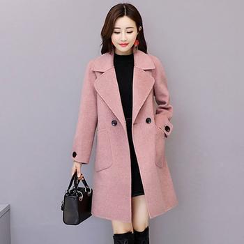 落雁莎2018韩版中长款毛呢外套
