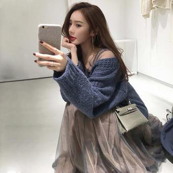 V领毛衣针织衫+网纱裙两件套套装