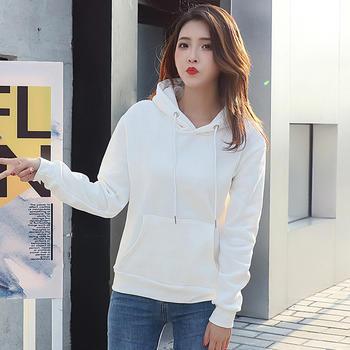 慵懒风净色FX白色卫衣女新款韩版