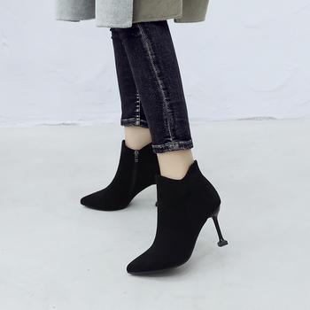 ZHR-尖头保暖内里优雅细跟短靴