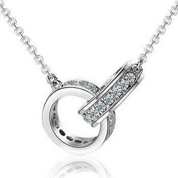 时尚双环项链连环锁骨链