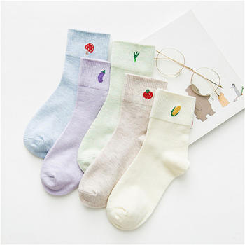 义客秋冬袜新品卡通保暖袜子五双