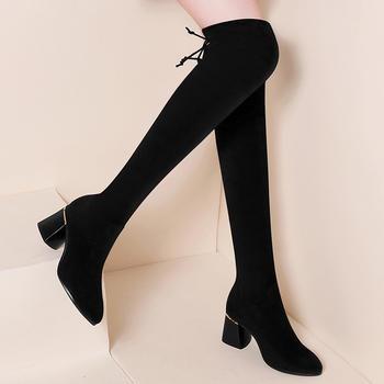 过膝长靴女秋冬季新款粗跟靴子
