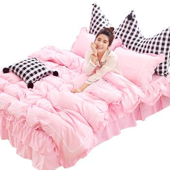 馨丝蓝韩式亲肤磨毛床裙四件套