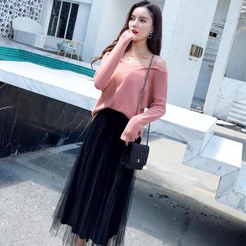 EBEINA慵懒风针织衫半身裙套装