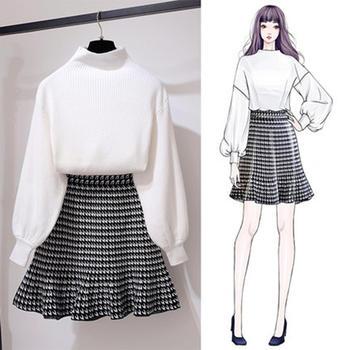 针织毛衣半身裙俏皮时尚两件套