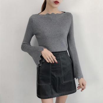 兰菲一字领针织衫女修身毛衣
