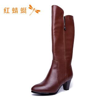 红蜻蜓时尚百搭高跟长靴C620822
