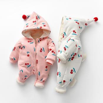 罗町婴儿服樱桃印花加厚冬款爬服