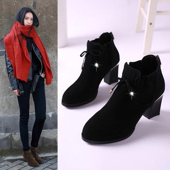 2018新款短靴女冬季网红加绒鞋子