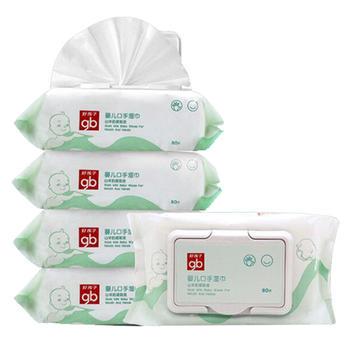 gb好孩子婴儿山羊奶湿纸巾80抽*5包