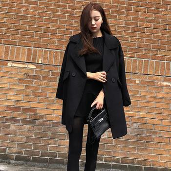 衣织优美 韩版宽松显瘦大衣