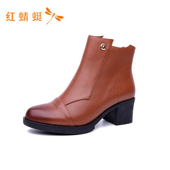 红蜻蜓真皮踝靴B75705