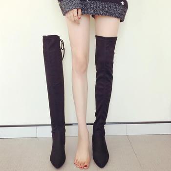 ADK过膝长靴冬季新款弹力靴加绒靴
