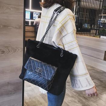 雅涵时尚简约毛绒女包单肩大包包