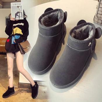 雪地靴女短筒毛球短靴棉鞋2018
