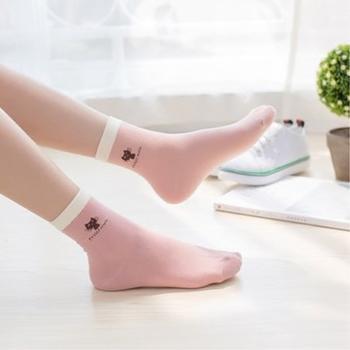 贤儿赫糖果色小猫袜子中筒4双装