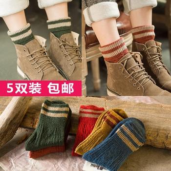 韩尚莯足冬款羊毛线中筒女袜5双