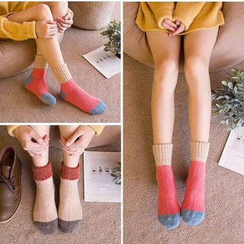 啵啵纯羊绒毛圈女中筒袜4双装