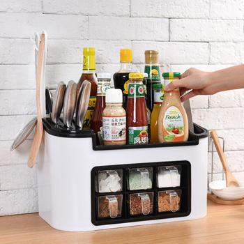 免钉孔多功能厨房置物架调味盒架