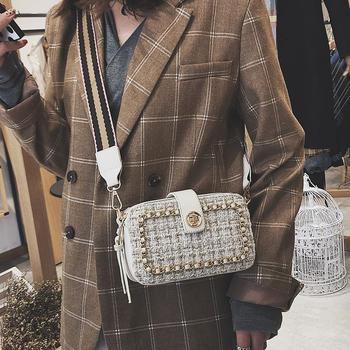 雅涵新款呢子女包时尚宽肩带包包