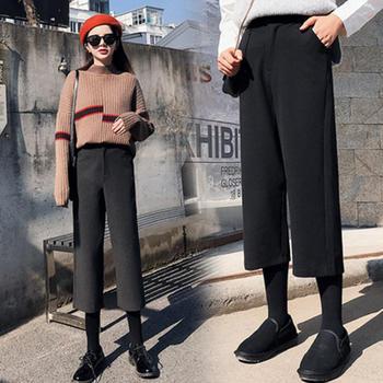 伊春美毛呢阔腿裤女秋冬季显瘦