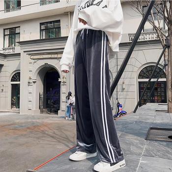 伊春美秋冬潮条纹高腰直筒裤