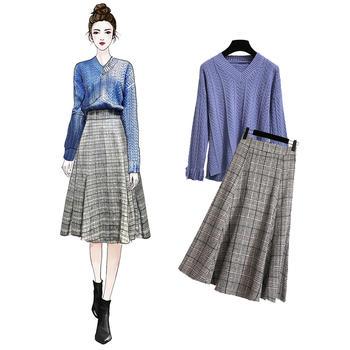 V领宽松针织毛衣+高腰格子裙套装