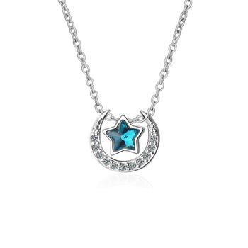 梦幻蓝色星月项链