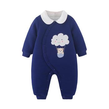 宝然婴儿连身衣服棉袄爬爬服侧开