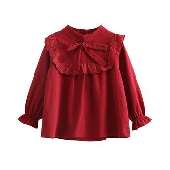 貝殼元素春裝女童格子娃娃衫tx9902