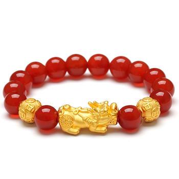 阿梵尼 黄金红玛瑙貔貅手链