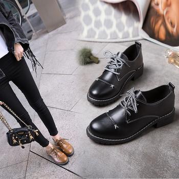 安欣娅新款交叉系带小皮鞋女鞋