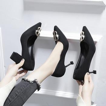 慕沫春秋单鞋女尖头粗跟浅口女鞋