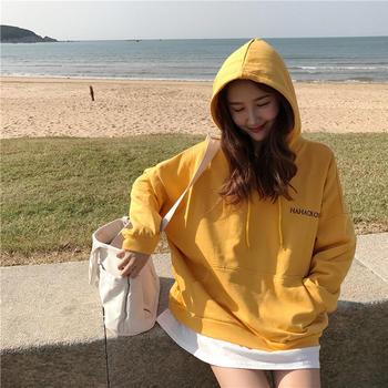 潮牌卫衣女韩版连帽宽松B8414