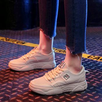 艾微妮韩版系带网面休闲小白鞋