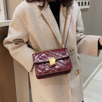 雅诗罗时尚绣线锁扣女包链条包包