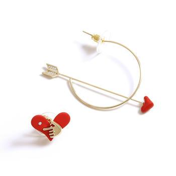 Crocus 时尚个性跳动的心丘比特之箭不对称耳饰52598