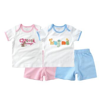 minizone宝宝清爽短袖T恤短裤套装