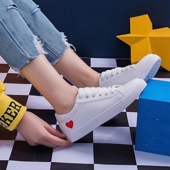 奥古女鞋平底小白鞋短靴休闲板鞋爱心系带学生